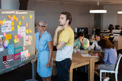 Creative business people looking at sticky notes on glass board. In office Stock Image