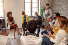 Creative business people meeting in circle Royalty Free Stock Image