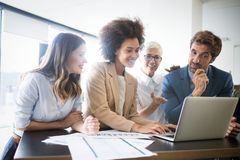 Creative business people working on business project royalty free stock image