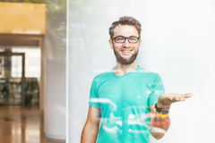 Creative business person in a blank t-shirt Royalty Free Stock Photos