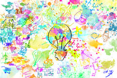 Creative business project. With bright colors lightbulb and business sketches Royalty Free Stock Images