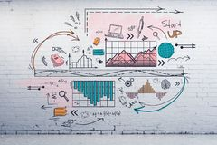 Science and plan concept. Creative business sketch on brick wall background. Science and plan concept Stock Photo