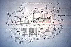 Science and education concept. Creative business sketch on concrete wall background. Science and education concept Stock Photography