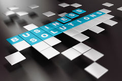Creative Business Solutions. Word Business Solution written on blue square blocks over black background Stock Images