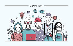 Creative business team concept. Banner with teamwork command. Young designers, girls and guys cv. Lineart colorful flat Royalty Free Stock Photos