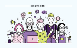 Creative business team concept. Banner with teamwork command. Young designers, girls and guys cv. Lineart flat Royalty Free Stock Photos