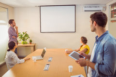Creative business team making presentation Stock Photo