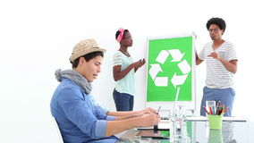 Creative business team meeting about recycling policy stock video