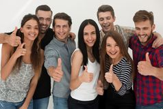 Creative business team showing thumb up royalty free stock images