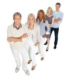 Creative business team standing in line on white Stock Photo