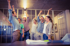 Creative business team waving their hands Royalty Free Stock Photo