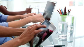 Creative business team working with tablet pc and laptop stock video footage