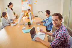Creative business team working together Stock Photo