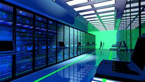 Terminal monitor in server room with server racks in datacenter. Creative business web telecommunication, internet technology connection, cloud computing and Royalty Free Stock Image