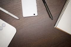 Creative business workspace background Stock Photography