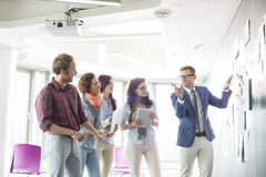 Creative businessman giving presentation to colleagues in office Royalty Free Stock Photos