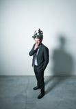 Creative businessman with steampunk helmet Royalty Free Stock Photos