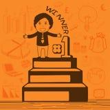 Creative businessman on winning podium. Stock Photography