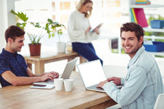 Creative businessteam working with mobile computers Stock Image