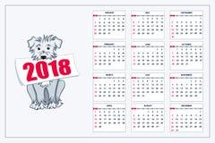 Creative calendar with drawn blue dog for wall year 2018. Classic american calendar for wall year 2018 with cartoon blue dog. English language. Week starts on Royalty Free Stock Photo