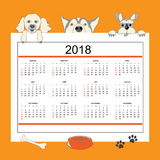 Creative calendar with drawn cartoon dogs for wall year 2018. Classic american calendar for wall year 2018 with cartoon dogs. English language. Week starts on Stock Image