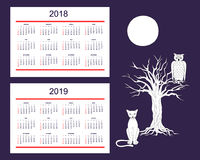 Creative calendar with drawn night animals for wall year 2018, 2 Stock Image