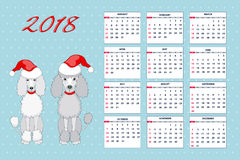 Creative calendar with drawn toy dog for wall year 2018. Classic american calendar for wall year 2018 with cartoon toy dog. English language. Week starts on Stock Images