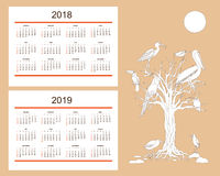 Creative calendar with drawn tropical birds for wall year 2018, Stock Images