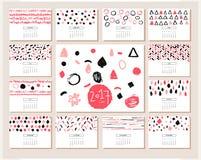 Creative calendar. Hand drawn Texture. Stock Photo