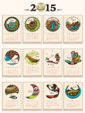Creative calendar of New Year 2015. Creative annual calendar of New Year 2015 stock illustration