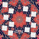 Creative calendar for new 2018 year. Ornamental floral background Stock Photo