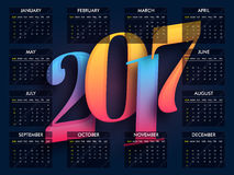 Creative Calendar for New Year 2017. Creative Calendar Planner design of 2017 year Stock Photography
