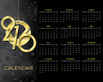 Creative Calendar 2016 vector design template. On dark background Stock Photo