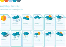 Creative card with all meteorology symbols Stock Images