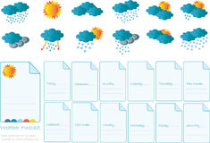 Creative card with all meteorology symbols Stock Image