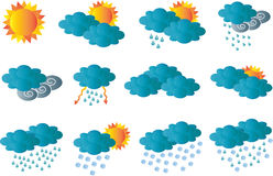 Creative card with all meteorology symbols Royalty Free Stock Photo