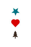 Creative card with a star, heart and christmas tree illustration. Creative card with a green star, red heart and brown christmas tree illustration isolated on Royalty Free Stock Photography