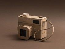 Creative cardboard camera. Creative handmade camera made from recycled cardboard, crafts and creativity concept Stock Photo