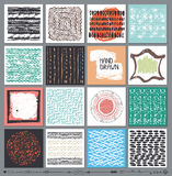 Creative cards set.Hand Drawn colored ink Stock Image
