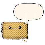 A creative cartoon biscuit and speech bubble in comic book style. An original creative cartoon biscuit and speech bubble in comic book style stock illustration