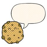 A creative cartoon biscuit and speech bubble in comic book style. An original creative cartoon biscuit and speech bubble in comic book style royalty free illustration