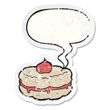 A creative cartoon biscuit and speech bubble distressed sticker. An original creative cartoon biscuit and speech bubble distressed sticker vector illustration