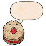 A creative cartoon biscuit and speech bubble in retro texture style. An original creative cartoon biscuit and speech bubble in retro texture style royalty free illustration