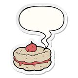 A creative cartoon biscuit and speech bubble sticker. An original creative cartoon biscuit and speech bubble sticker royalty free illustration