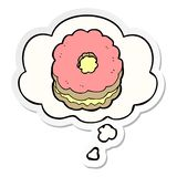 A creative cartoon biscuit and thought bubble as a printed sticker. An original creative cartoon biscuit and thought bubble as a printed sticker vector illustration