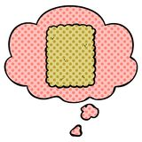 A creative cartoon biscuit and thought bubble in comic book style. An original creative cartoon biscuit and thought bubble in comic book style stock illustration