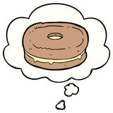 A creative cartoon biscuit and thought bubble. An original creative cartoon biscuit and thought bubble stock illustration
