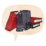 A creative cartoon books and speech bubble in retro textured style. An original creative cartoon books and speech bubble in retro textured style stock illustration