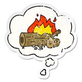 A creative cartoon camp fire and thought bubble as a distressed worn sticker. An original creative cartoon camp fire and thought bubble as a distressed worn vector illustration
