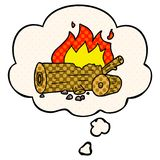 A creative cartoon camp fire and thought bubble in comic book style. An original creative cartoon camp fire and thought bubble in comic book style vector illustration